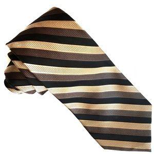 Joseph Abboud Earth Tone Brown Striped Silk Tie XL